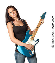 Attractive girl with a blue electric guitar isolated on...