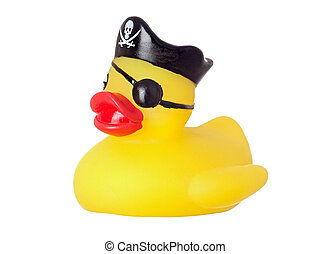 Funny pirate duck isolated on a over white background
