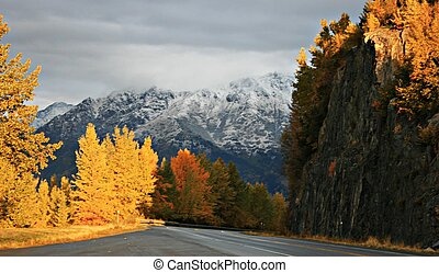 Fall Scene - A scenic road in Alaska during the fall with...