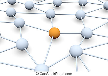 Network Node - 3D rendered Illustration. Isolated on white.