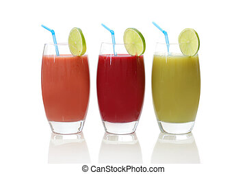 Fresh juices - Freshly made fruit juices isolated on white