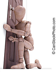 Voyeurism - Wooden doll looking through the keyhole. Concept...