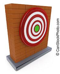 Brick wall and Red darts target aim