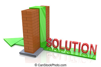 abstract 3d illustration of arrow and brick wall, right solution concept
