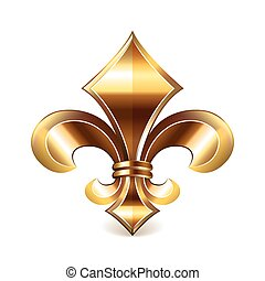 Fleur de lis gold isolated on white photo-realistic vector...