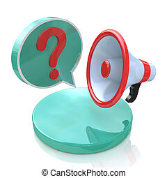 Megaphone with Speech Bubble and Question mark in the design...