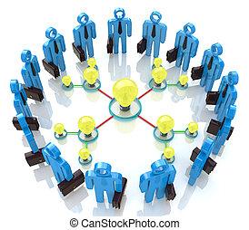 Teamwork with idea concept light bulb