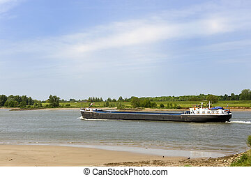 River the Lek with big boat - Landscape with transport boat...