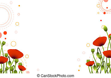 Floral background - Background with red poppy flowers for...