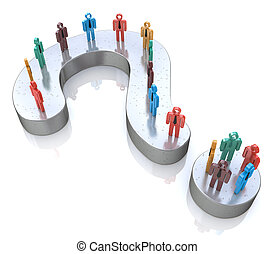 Question Mark and colorful 3d people in the design of...