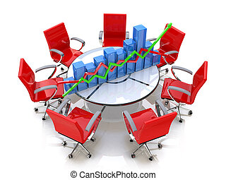 Business graph, chart at the round table and red chairs