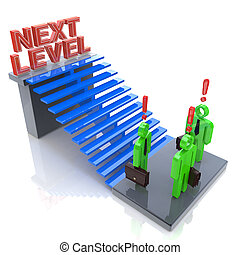 3d people - man, person with ladder. Next level. Progress...