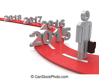 Bright future success concept 2015 3d illustration - Bright...