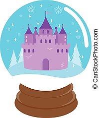 Fairy tale castle in a snow globe - Vector Illustration of a...