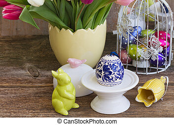 Spring flowers with easter egg