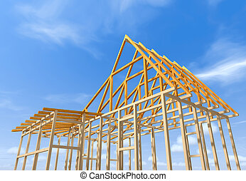 Wooden frame of a house - Wooden frame under construction...