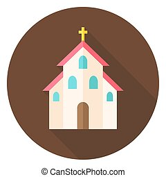 Christian Religion Church with Cross Circle Icon