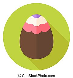 Easter Egg with Wave Ornament Circle Icon. Flat Design...