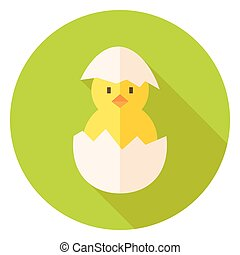 Hatched Chicken in Eggshell Circle Icon Flat Design Vector...