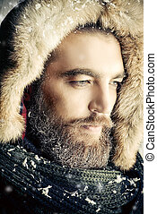 calmness - Portrait of a handsome brutal man with beard and...