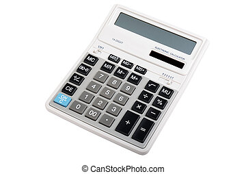 Professional accounting calculator isolated on white...