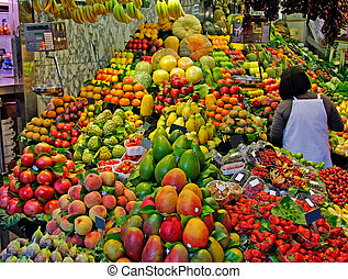 La Boqueria, fruits World famous Barcelona market, Spain...