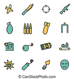 Vector line terrorism set - Trendy flat line icon pack for...