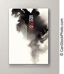 Abstract inkblot background. Monochrome grunge paint design....