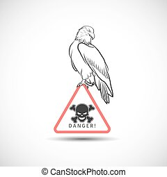 Eagle on danger symbol - Vector eagle on danger symbol
