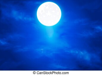 full moon in the blue sky