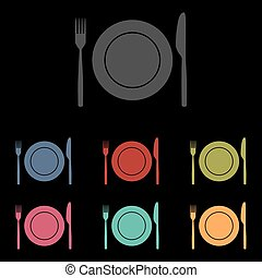 vector icons set on black background