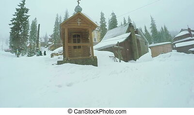Wooden church in ski resort - Wooden Catholic church in ski...