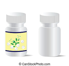 Two realistic bottles with tablets are isolated on white...