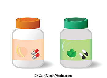 Two bottles with tablets are isolated on white background