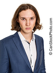 Portrait of a young man in a blue suit, isolated on white