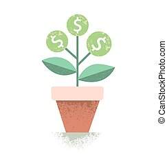 Dollar plant in the pot. Financial growth concept. Vector illustration.