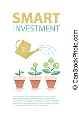 Dollar plant in the pot and watering can. Financial growth concept.  Smart investment. Vector illustration.