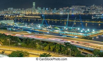 Top view of Hong Kong at night, View from kowloon bay...