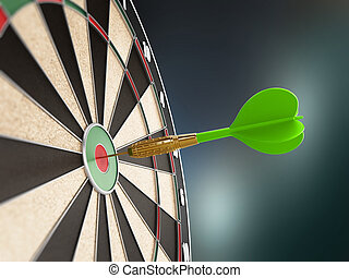Green dart on the target