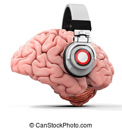 hjärna, hörlurar, mänsklig, 3