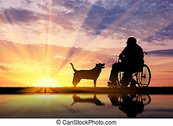 Silhouette of disabled and dog
