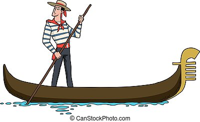 Gondolier on gondola - Cartoon gondolier on a gondola vector...
