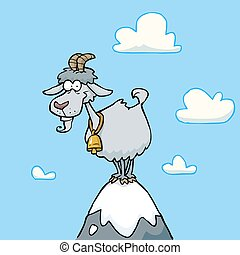 Cartoon mountain goat - Cartoon doodle goat on a mountaintop...
