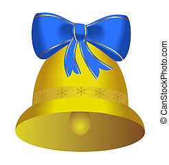 Golden christmas bell with blue bow - vector
