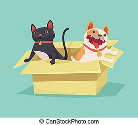 Cat and dog sitting in cardboard box Vector flat...