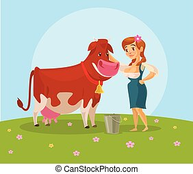 Cow and milkmaid Vector flat illustration
