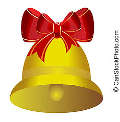 Golden christmas bell with red bow - vector