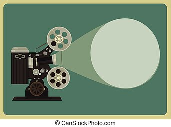 Retro movie projector Vector flat illustration