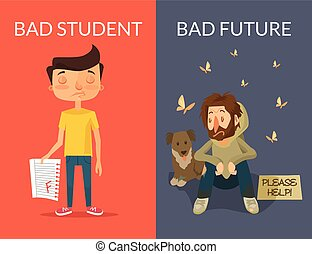 Bad future Vector flat illustration