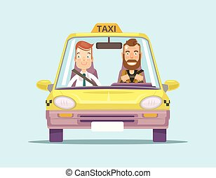 Taxi car and taxi driver with passenger Vector flat...